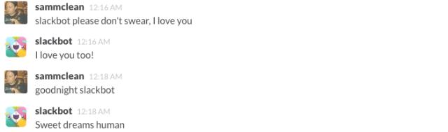 Slackbot responds to conversations