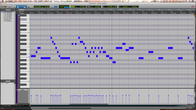 The piccolo imitate's rhythmically