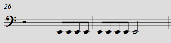 Notes in range (Sounds Octave lower than written)