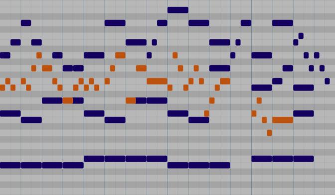 Rhythmic imitation in the alto line.