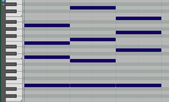 Piano roll of the IV-V-I progression